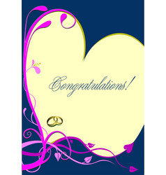 Wedding or valentines day greeting card vector