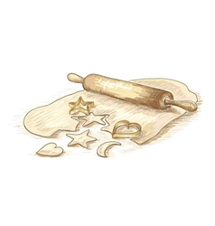 Hand drawn of roll dough with cookies vector
