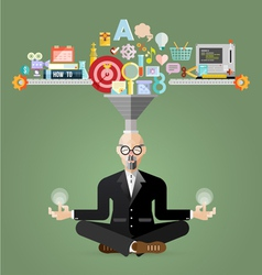 Old business meditation to create idea vector