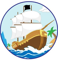 Pirate ship on the shore circle frame vector