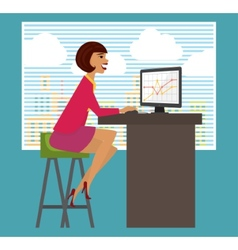 Workplace office desk business woman working at vector