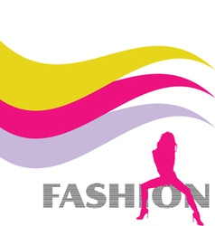 Fashion and sexy pink girl silhouette vector