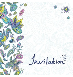 Invitation Template with Paisley Ornaments vector image
