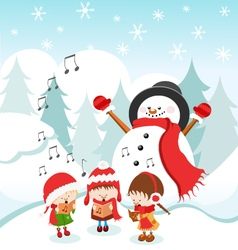 Kids singing christmas carol vector