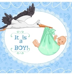 Baby greetings card with stork and baby boy eps10 vector image