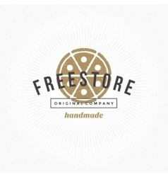Hand drawn pizza restaurant logo vintage style for vector