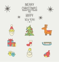 Christmas and new year icons with a thick stroke vector