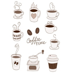 Coffee items vector