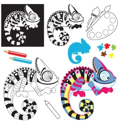 cartoon chameleon lizard vector image