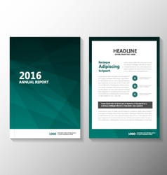 Green annual report leaflet brochure set vector