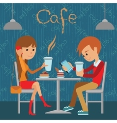 Guy and girl are sitting in a cafe vector