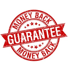Money back guarantee grunge retro red isolated vector