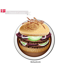 Bofsandwich or ground beef hamburger the national vector