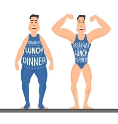 cartoon characters different stages fat problems vector image