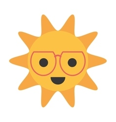 cartoon funny sun with sunglasses smile vector image
