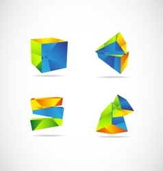 Corporate 3d logo geometric vector image
