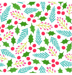 cute floral christmas background vector image