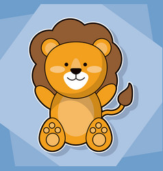 Cute lion baby animal cartoon image vector