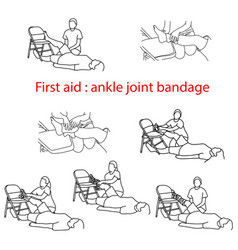 First aid bandage in case of injury of the ankle vector