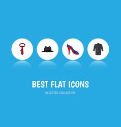 flat icon clothes set of uniform panama cravat vector image vector image