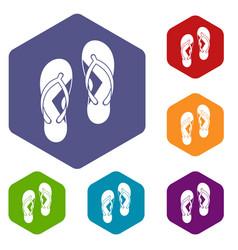 Flip flop sandals icons set hexagon vector