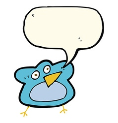 Funny cartoon robin with speech bubble vector