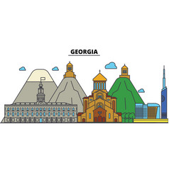 Georgia tbilisi city skyline architecture vector