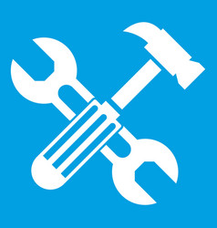 Hammer and screw wrench icon white vector