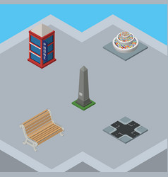 Isometric city set of phone box dc memorial seat vector