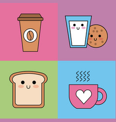 kawaii set icons breakfast coffee cookie milk vector image
