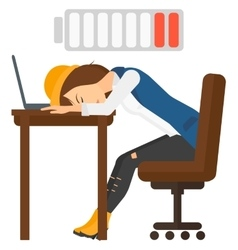 Man sleeping at workplace vector
