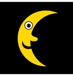 Moon icon on black vector image