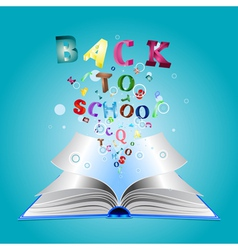 Opened book with letters3 vector image vector image