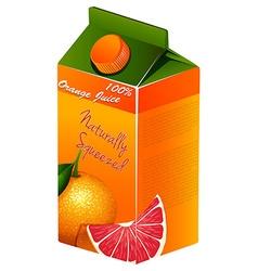Orange juice in carton box vector