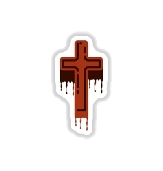 Paper sticker on background of cross the blood vector