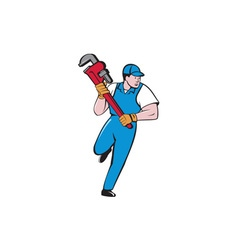 Plumber running pipe wrench cartoon vector