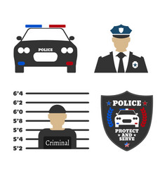 police car police sign officer criminal man vector image vector image
