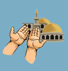 praying hands in front of mosque vector image vector image