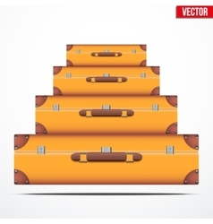 Pyramid of the vintage suitcases vector