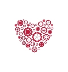 Red heart from tech gears background vector
