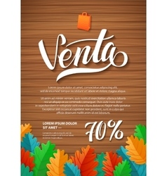 Sale spanish hand lettering design template vector
