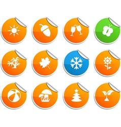 Seasons stickers vector image vector image