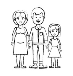 Silhouette couple with their daughter icon vector