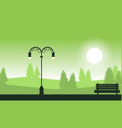 Street lamp on garden landscape silhouettes vector
