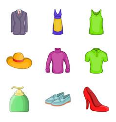 Summer clothes icon set cartoon style vector