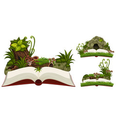 three books of nature with cave and plants vector image