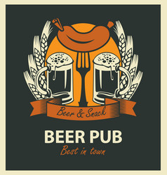 two beer glasses sausage wheat ears and ribbon vector image vector image