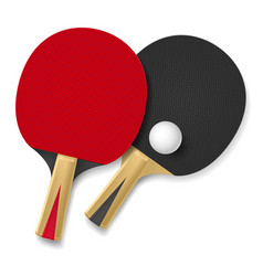Two rackets for playing table tennis on white vector