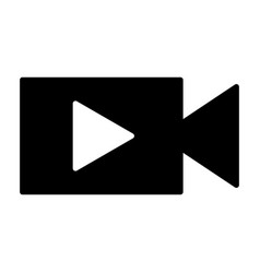 video camera with play button silhouette icon vector image
