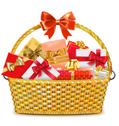 Wicker basket with gifts vector